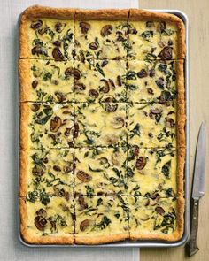 Swiss Chard, Mushroom, and White-Cheddar Quiche Recipe {this is so yummy!! i make it with spinach rather than swiss chard. puff pastry is the perfect crust}