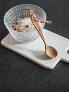 Image of Wooden small salt spoon