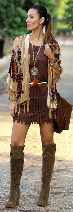 Modern hippie fringe skirt with tall boots and feather extra long layering necklace, and gypsy embellished boho chic cardigan sweater. For the BEST Bohemian fashion style ideas FOLLOW http://www.pinterest.com/happygolicky/the-best-boho-chic-fashion-bohemian-jewelry-gypsy-/ now.