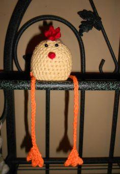 Spring Chicken Dangling Legs Crochet by KarensCrochetShop on Etsy, $10.00 ~ Just For Inspiration.