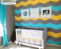 These colors make terrific #chevron accent wall!  #gray #turquoise #yellow #nursery