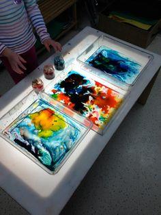 Color mixing experiment on the light table using Karo syrup and food coloring diluted with water - Creative Children's Center ≈≈