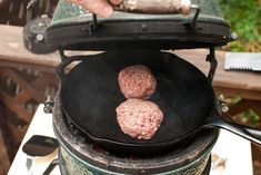 skillet burgers... on a grill!