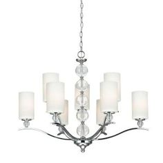 Sea Gull Lighting Englehorn 9-Light Chrome Fluorescent Chandelier with Inside White Painted Etched Glass-3113409BLE-05 at The Home Depot