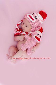sock monkey baby hat