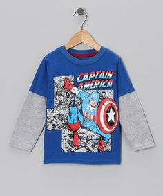 Royal Blue 'Captain America' Layered Tee by Marvel