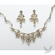 Gold Pearl & Rhinestone Necklace and Earrings