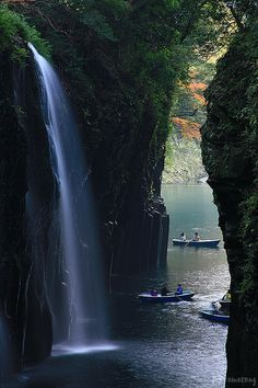 Beautiful waterfalls in Takachiho Gorge, Miyazaki prefecture, Japan