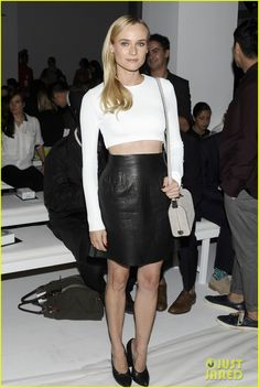 calvin klein, fashion, leather skirts, dian kruger, style icons, mini skirts, crop top and black skirt, pencil skirts, diane kruger