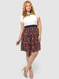 Bodacious Botanical Skirt by Triste,Available in sizes 0X-5X