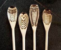 Set of 4 Wood burned owl spoons by littlesisterscrafts on Etsy, $25.00