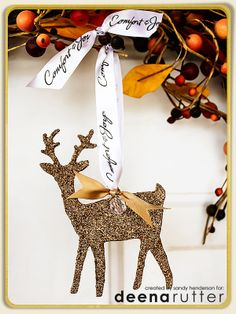 """HYBRID–Glittered and Jewel Reindeer Ornament"" I used Deena Rutter's NEW Holiday Kit–Hello December–to make this ornament. I selected one of the elements, and pulled it into my Silhouette software, cut it out, then went to town with the glitter. Makes me happy, happy, happy."