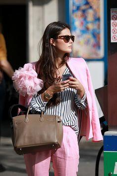 Pastel pink suit, we'll take it!!
