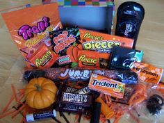 "Halloween care package.  ""OK, this site has sooooooo many fun mail ideas!!!!"" holiday, gift boxes, halloween care, carepackag, missionari, missionary packages, halloween gifts, care packages, halloween ideas"