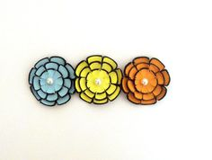 Layered leather cabochon flowers Colorful 3 by HMCreativeSupplies, $9.00
