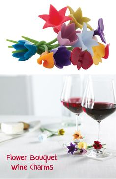 Floral Wine Charms / Markers - a cute hostess gift!