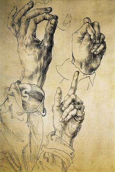 Alberto Durero Study with Three Hands, 1494–5 Pen and brown and brown-black ink over thin pen tracing in a slightly paler ink on white paper 27 x 18 cm Graphische Sammlung Albertina