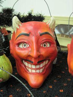 Vintage Halloween devil lantern.