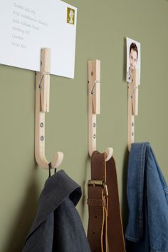 Inspired by the classic wooden clothes peg, these hooks can manage just about anything from your keys to coats and bags and also wrangle your mail at the same time. Or, stick a love note in the clothes pin. Or lunch money!