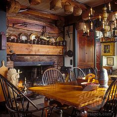 Prim Dining Room american countri, dining rooms, cabin, dine room, coloni, fireplaces, primit decor, baskets, windsor chairs