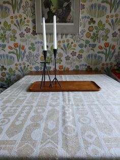 Vintage Swedish tablecloth/ Geometric tablecloth by Scandivintage, $27.00