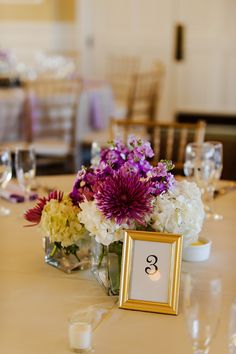 simple lavender and white centerpiece