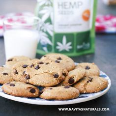Hemp-Seed Chocolate Chip Cookies -  Comforting cookies with lots of protein and minerals