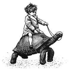 Boy on a Tortoise linocut by Nick Morley