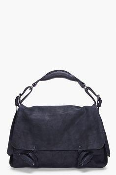 DAMIR DOMA // BLACK SUEDE MESSENGER BAG