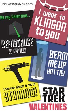 Free Printable STAR TREK Valentines- these are perfect for my man!