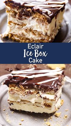 No bake ice box cake that tastes like eclairs. You guys! This is my favorite dessert. You can impress your friends and family, with this crowd favorite!