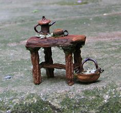 Fae Kichen Table (Reserved) With Coffee Pot, Cup and Gathering Basket via Etsy