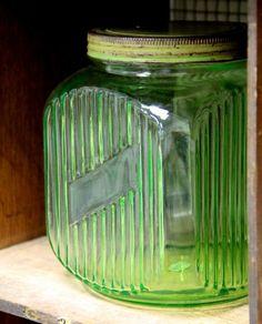 Antique Vaseline Glass Canister