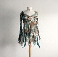 peasant blous, blouses, boho chic, gypsi cloth, upcycl cloth, fashion styles, peasant style, teal, blous brown
