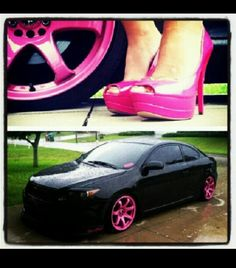 Black with pink rims.