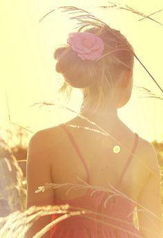 Flowers in her hair....