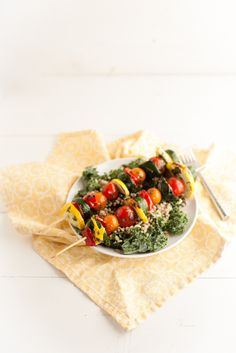 Cilantro-Lime Marinated Veggie Kabobs with Barley Kale Salad