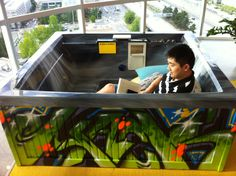Hot Tub (AKA conference room) painted by #Weirdo for #Facebook Seattle offices!  #graffiti #spraypaint