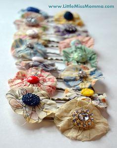 diy anthropologie inspired fabric hair flowers