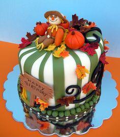 Scarecrow and Fall Theme Birthday Cake