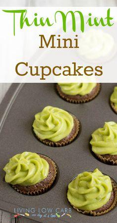 Grain Free Thin Mint Mini Cupcakes #grainfree #dairyfree #paleo #lowcarb