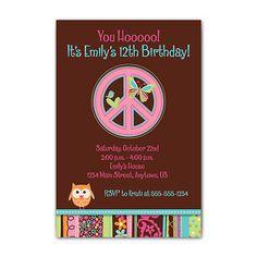Hippie Chick Owl Peace Sign Custom Photo Birthday Party Invitation | eBay