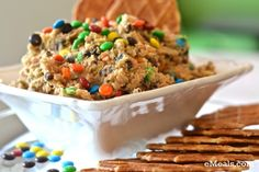 Crazy Good Cookie Dough Dip. Talk about a happy #GameDay. #CookieDough