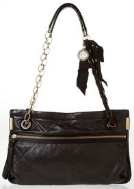 LANVIN SHOULDER BAG  - This black leather shoulder bag makes for the perfect party ready accessory.