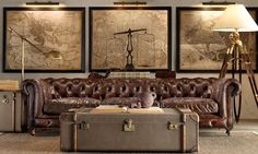 Restoration hardware Chesterfield, vintage maps, trunk table