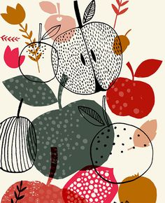 Susan Driscoll - simple line graphics over printed n solids fruit tree illustration, color palettes, print tree, food graphic milk, pattern, autumn, apple illustration, apples, food illustrations