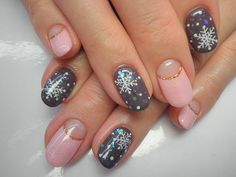 winter nail art.. Maybe not the pink nails.. just the grey snowflake names