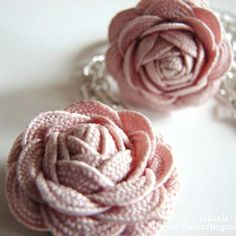 pink roses, jewelry tutorials, fabric roses, little girls, craft