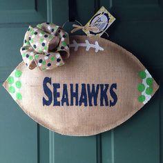 MADE TO ORDER - University of Michigan Burlap Door Hanger - Seattle Seahawks Wreath - Burlap Door Hanger - Burlap Football