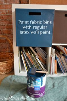 Update bins in Ikea Expedit with regular latex paint.